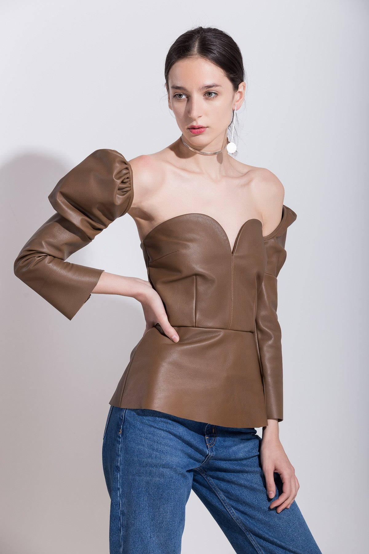 Leather Top with Detachable Sleeves, Top, Andra Andreescu - Andra Andreescu Design