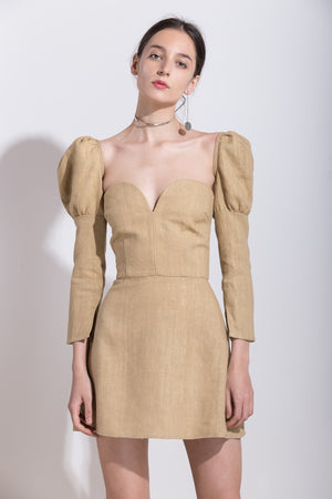 Linen Dress with Detachable Sleeves, Dress, Andra Andreescu - Andra Andreescu Design