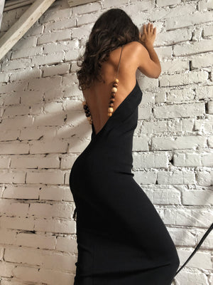 Qara Midi dress with wood beaded cami straps - Andra Andreescu