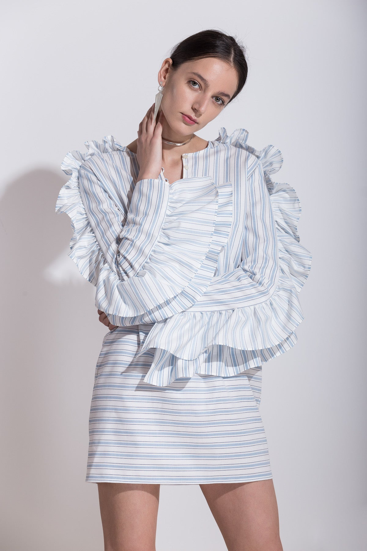 Ruffled Cotton Mini Dress, Dress, Andra Andreescu - Andra Andreescu Design