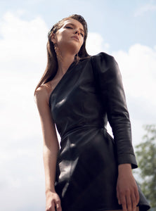 One-shoulder Leather Mini Dress - Andra Andreescu