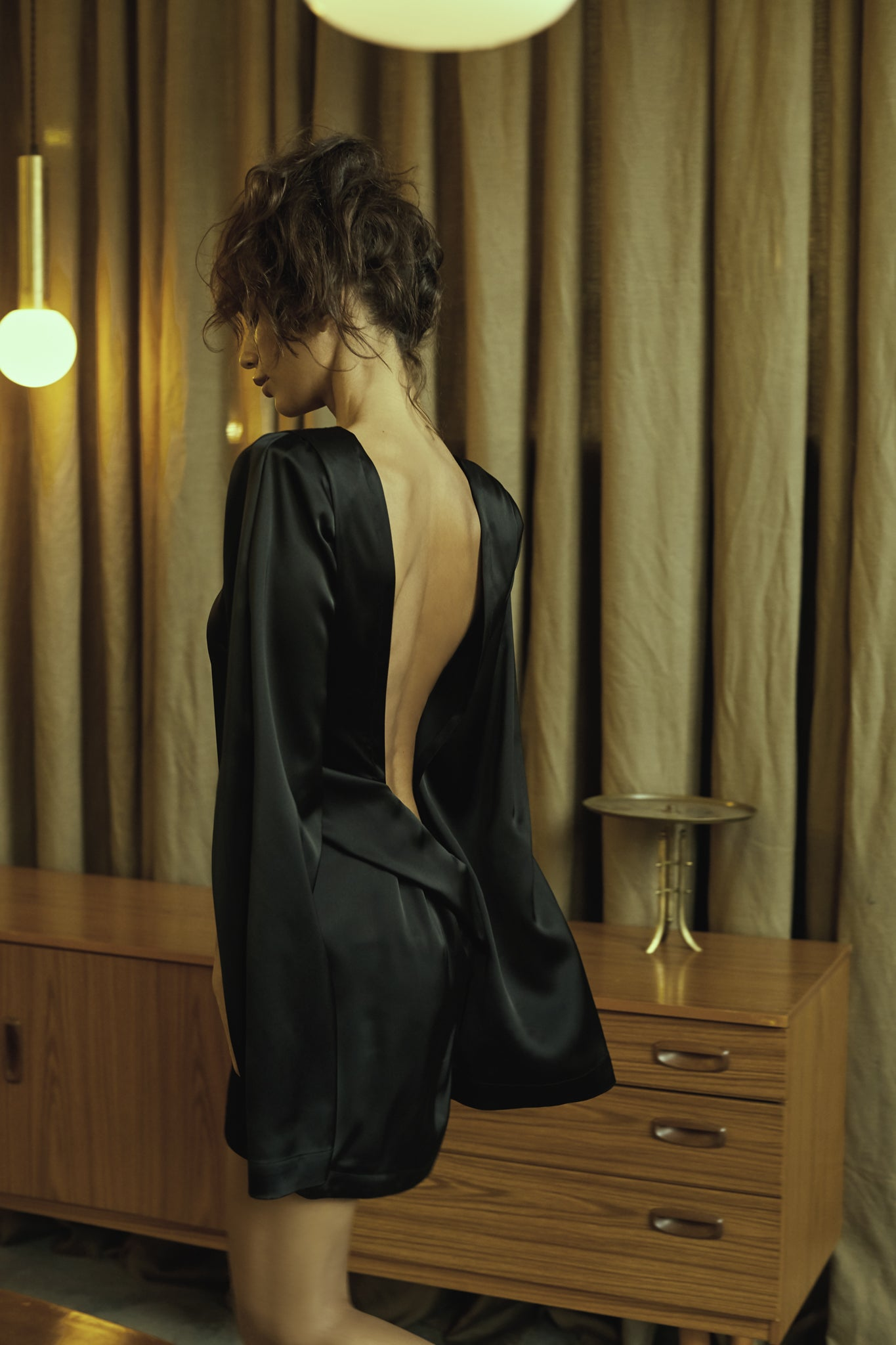 LUNA Open Back Silk Buttoned Details Dress with Flared Sleeves, Dress - A.A Design