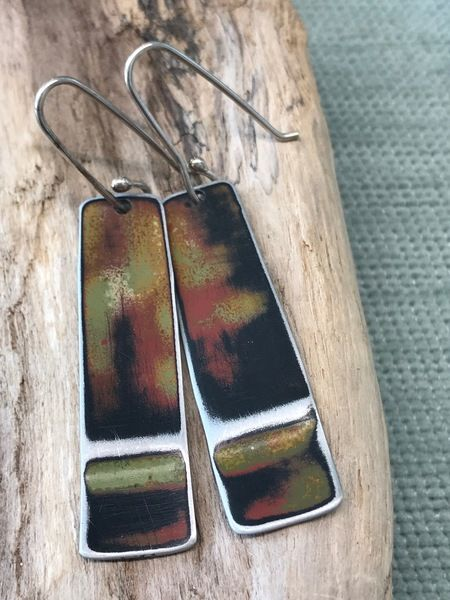 Orange Black Thick Stick Earrings