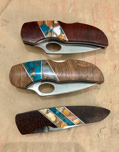 Wooden Knife with Inlay Turquoise (Asa33)