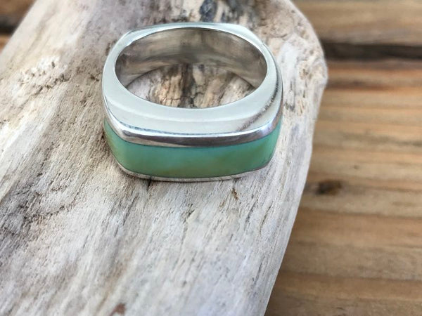 #7.5 Medium Stacker Ring Olive Green NV Variscite
