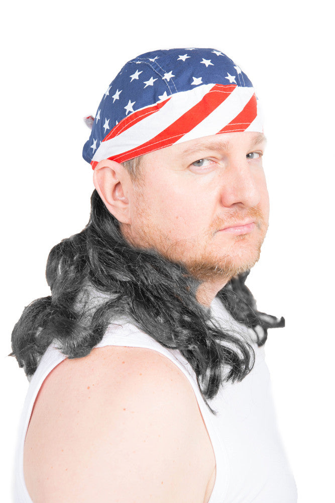 The Freebird Skullcap mullet wig in black