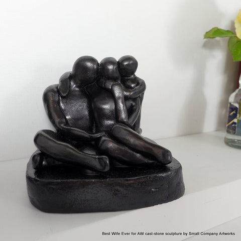 One-of-a-kind cast-stone anniversary sculpture by Small Company Artworks