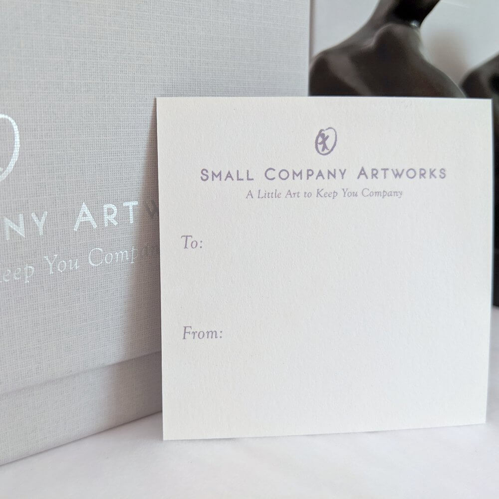Gift tag and boxes for sculpture - Small Company Artworks