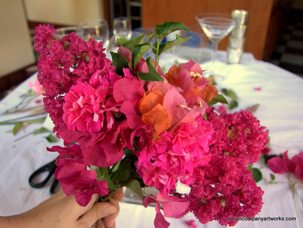 Building a pink bouquet