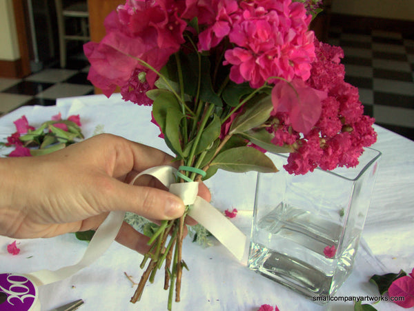 Wrapping stems in ribbon
