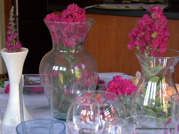 Oversized vases with flowers