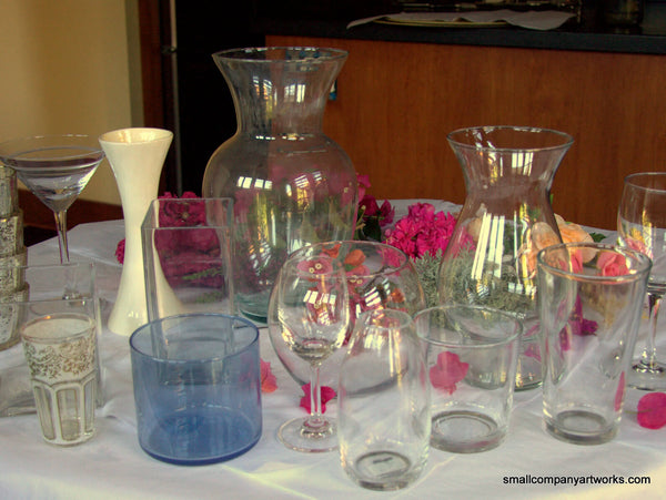 Assortment of vases for flower arranging