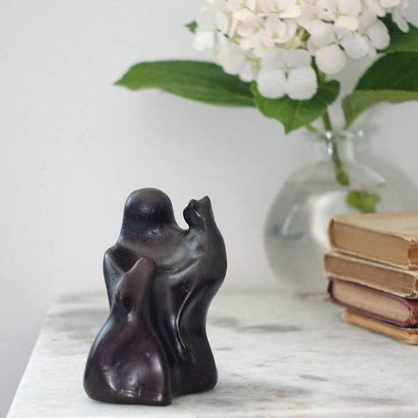 Small Company Artworks - Animal Lover Figure Sculpture with Dog and Cat