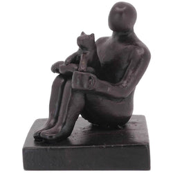 Small Company Artworks - Book Lover and Funny Cat Figure Sculpture