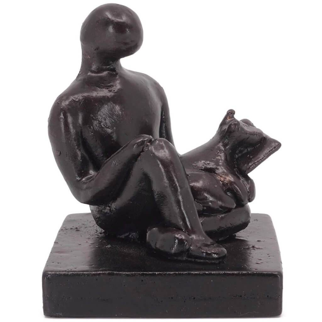 Book Lover with Dog Figure Sculpture Gift - Small Company Artworks