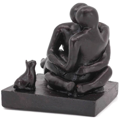 Cat People Couple Sculpture Gift - Small Company Artworks