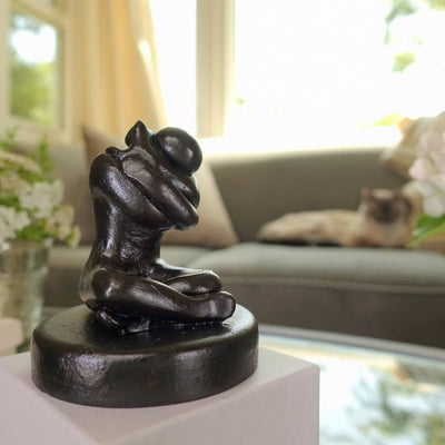 Figure Sculpture Gift with Loving Cat Hug - Small Company Artworks