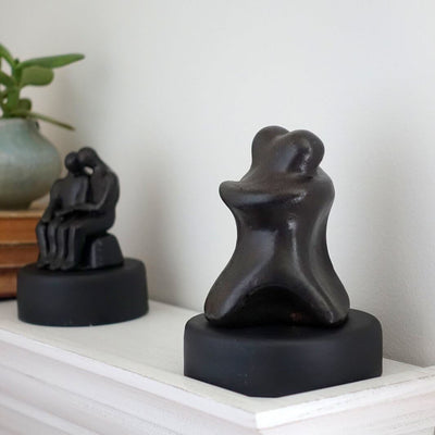 Abstract Seated Hugging Figures Sculpture Gift - Small Company Artworks