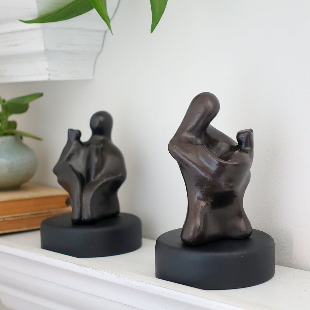 Abstract Figure Sculpture  Gift with Loving Cat - Small Company Artworks