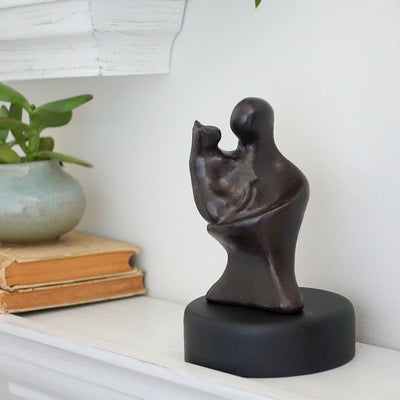 Loving Cat Hug Sculpture Gift - Small Company Artworks