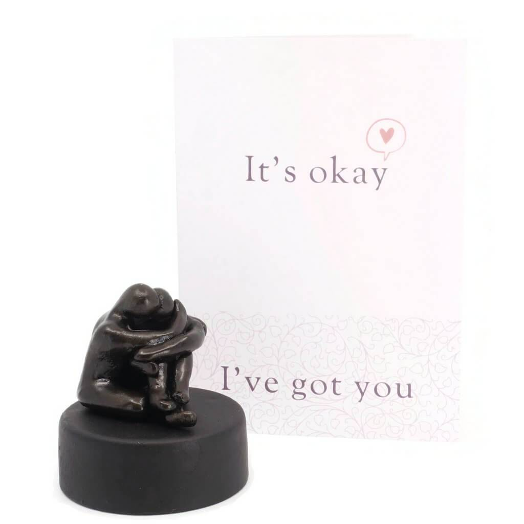 Grief gift for friend - miniature hugging figures - Small Company Artworks
