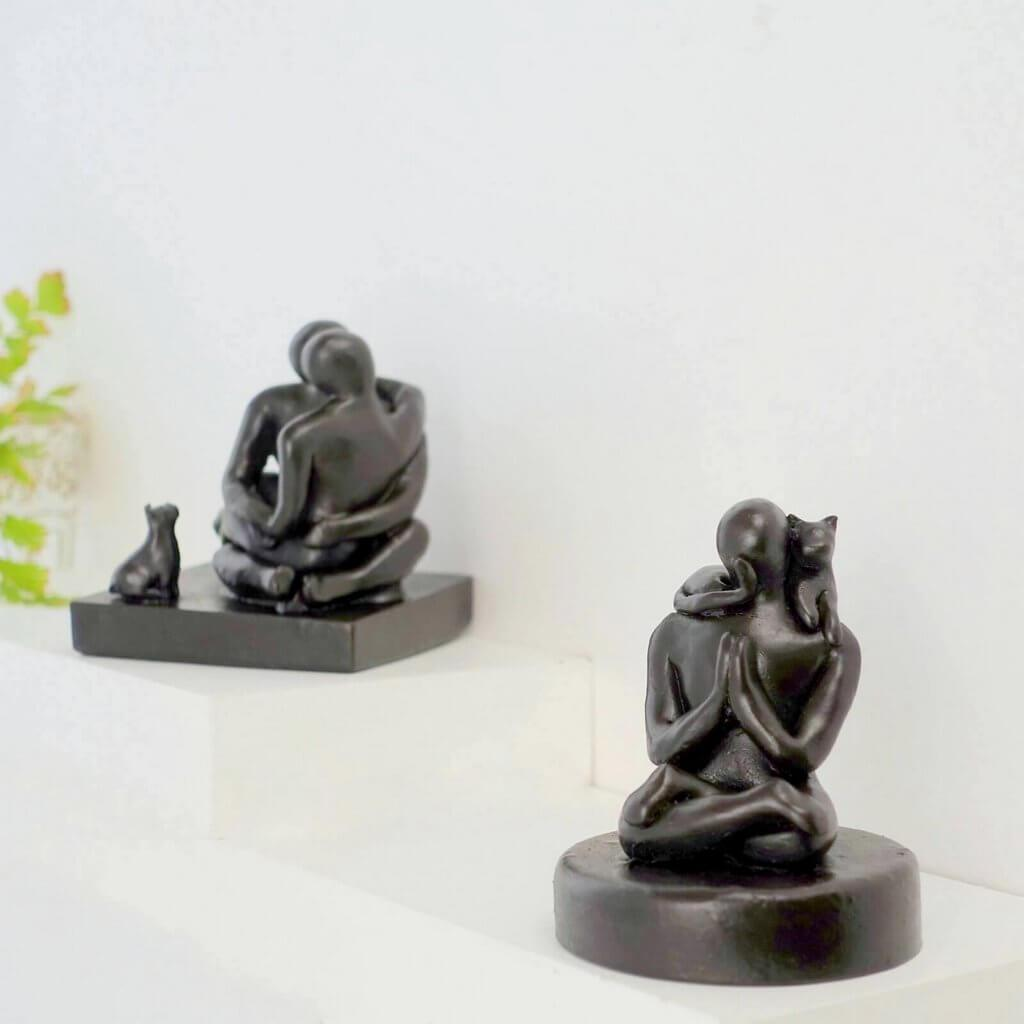 Meditation with Cat Figure Sculpture Gift - Small Company Artworks