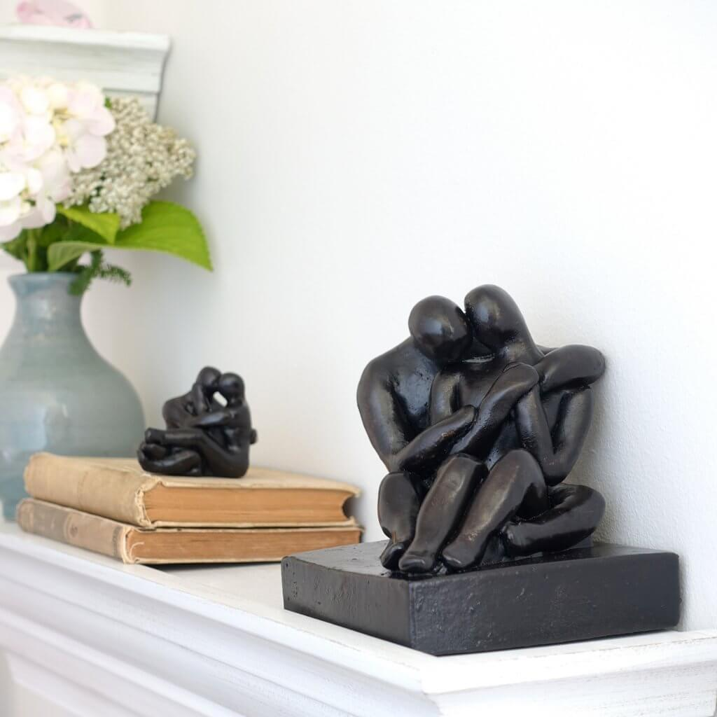 Romantic Embracing Couple Figure Sculpture Gift - Small Company Artworks