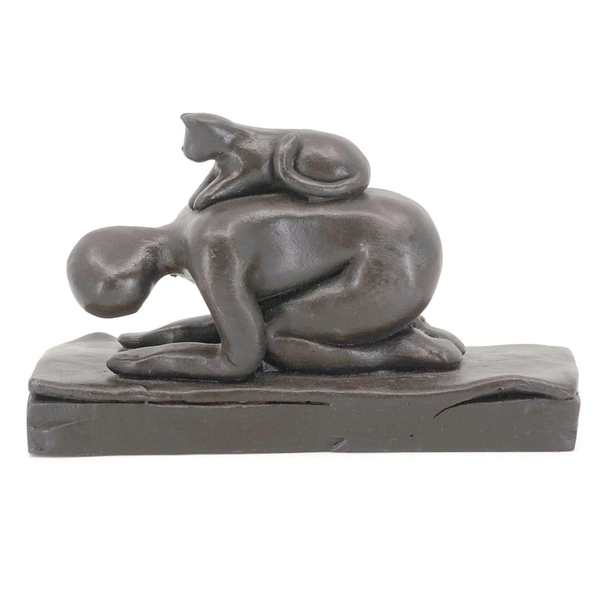 Yoga with Helpful Cat | Cat-Assisted Childs Pose - Tabletop sculpture gift