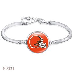 10 PCS Cleveland Brown Football Team Charms Bangle Adjustable Bangle Alloy silver Best Gift For Fans