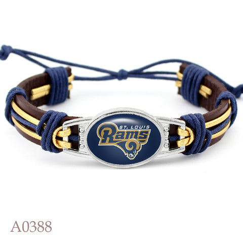 10 PCS Los Angeles Rams Football Team Real Leather Bracelet Adjustable Mens  Real Leather Bracelet For Men and Women 10 PCS