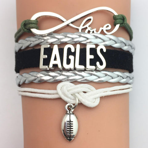 (10 Pieces/Lot) Infinity Love Philadelphia Eagles Football Team Bracelet Midnight Green Silver Black Charcoal White Custom