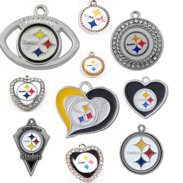 (10 Pieces/Lot) Wholesale! USA Football Pittsburgh Steelers Charms For Making Jewelry Bracelet Necklaces Earrings Drop Shipping
