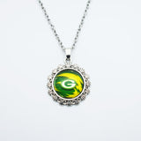 10PCS 2Style Football Green Bay Packers Sports Team Pendant Necklace Time Gem Glass Pendant Jewelry For Fans Gift With Chain