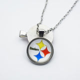 10PCS Football Pittsburgh Steelers New Style Sports Team Jewelry Pendant 25MM Time Gems Glass Charm Pendant Necklace With Chain