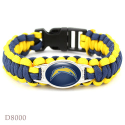 10Pcs Los Angeles Chargers Bracelet Sport Team Umbrella Braided Bracelet Football Fans Gift