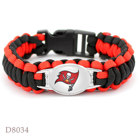 10Pcs Tampa Bay Buccaneers Bracelet Sport Team Umbrella Braided Bracelet Football Fans Gift