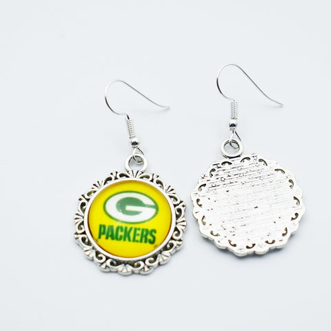 10air High Quality Football Green Bay Packers Sports Stud/Drop Charm Earrings Sports Team Time Gems Jewelry Glass Earrings