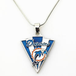 10pcs Miami Dolphins Football Team Football sports necklace Jewelry with snake chain(45+5cm) necklace Charms Pendant