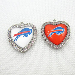 10pcs/lot Crystal Heart Buffalo Bills Football Sports Dangle Charms DIY Bracelet Necklace Jewelry Hanging Floating Charm