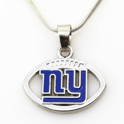 10pcs/lot New York Giants USA Team Football sports necklace pendant Charms Jewelry with snake chain(45+5cm) necklace jewelry