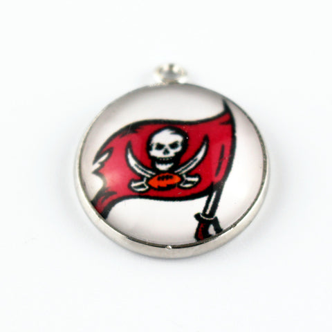 10pcs/lot Team football Sports Glass Pendant Tampa Bay Buccaneers Hanging Dangle Charms Floating Charms For Pendant Jewelry