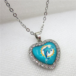 10pcs/lot USA Miami Dolphins Heart Necklace Pendant Jewelry With Chains Necklace DIY Jewelry Football Sports Charms