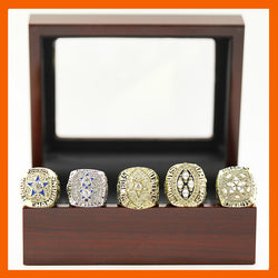1971 1977 1992 1993 1995 DALLAS COWBOYS SUPER BOWL CHAMPIONSHIP RING, 5 PCS RING SET WITH WOODEN CASE COLLECTION
