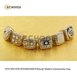 1974 1975 1978 1979 2005 2008 6pcs Pittsburgh Steelers Championship rings gold&silver set with wooden red box