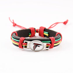 2017 Atlanta Falcons Team adjustable leather Woven Bracelet Outdoor Camping NFL Sports Fans Bracelets & Bangles 10pcs/lot