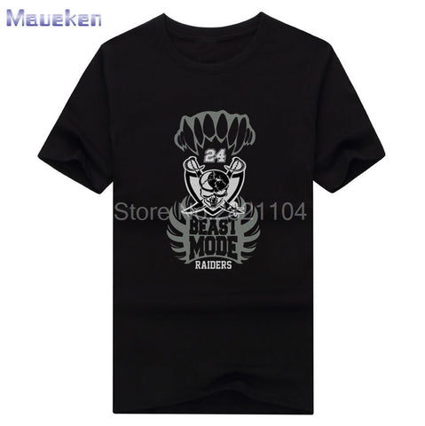 2017 Beast Mode skull Oakland Marshawn Lynch 24 100% cotton t shirts Mens fashion T-shirts for Raiders fans 0429-9