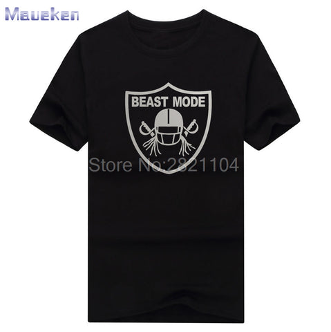 2017 Beast Mode with new team logog Oakland Marshawn Lynch 24 100% cotton t shirts Mens fashion T-shirts for Raiders fans 0428-2
