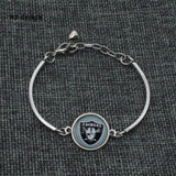 2017 Fashion Football Bracelet Oakland Raiders Charm Bangle Bracelet for Women Men Jewelry Couple Wholesale  SPT013