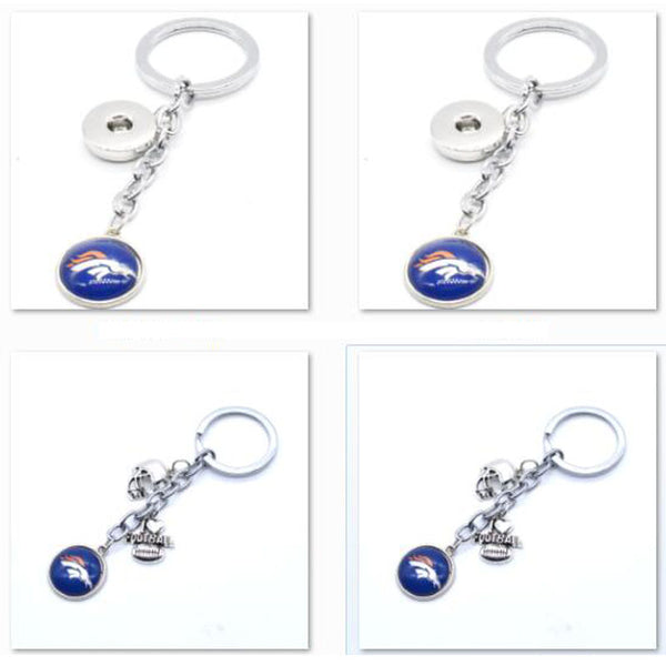 2017 Fashion Football Key Chain Denver Broncos Charm Keychain Car Keyring for Women Men Keyrings Gifts Party Wedding Birthday