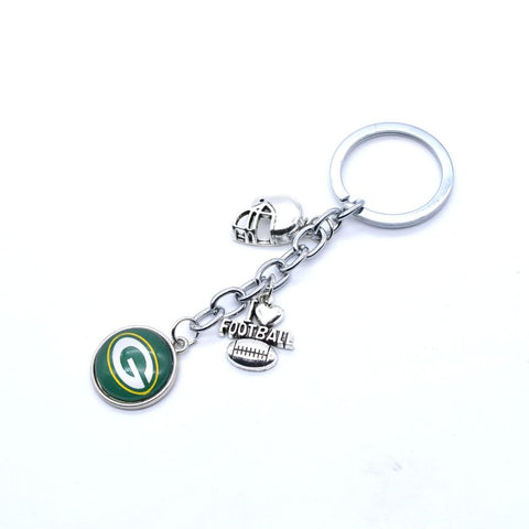 2017 Fashion Football Key Chain Green Bay Packers Charm Keychain Car Keyring for Women Men Keyrings Gifts Party Wedding Birthday